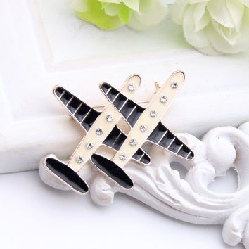 Fashion Brand Design 2 Plane Brooch For Women Private Custom Jewelry Enamel Paint Airplane Brooches Broches Wedding Party Pins