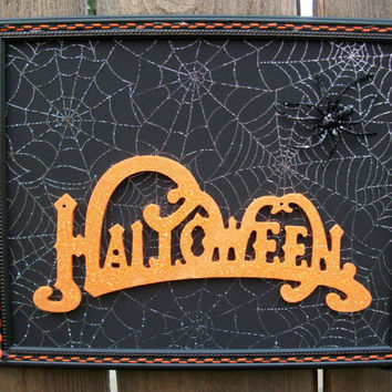 Halloween 8 x 10 Table Top Free Standing Wall Decor 3D Spooky Spider Upcycled Decoration