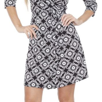 Mariah Arabesque Print Wrap Dress Short Cover Up 3/4 Sleeves