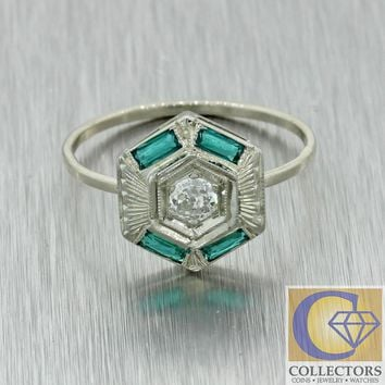 1930s Antique Art Deco Solid 18k White Gold .40ctw Diamond Emerald Cocktail Ring