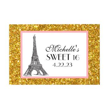 Paris Sweet 16 Gold Glitter Lights Guest Book