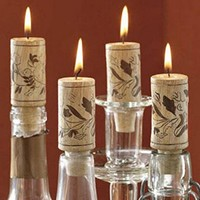 Elegant Wine Bottle Cork Candle Set of 4