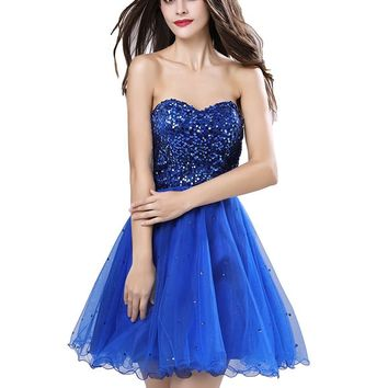 Topwedding Womens Short A Line Sweetheart Tullle Sequins Homecoming Party Dress Prom Gown