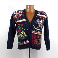 Ugly Christmas Sweater Vintage Cardigan Holiday Tacky Children's Kid's Girl's size L 12 - 14
