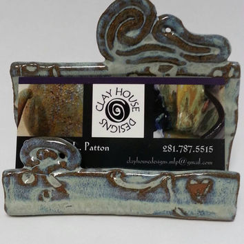 Business Card Holder Recipe Card Holder Sponge Holder Creamy Turquoise with Brown Glaze by Michele Patton