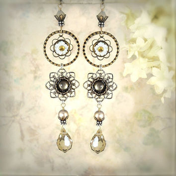 Bridal Jewelry  Flower Earrings  Fantasy Jewelry  by MiaMontgomery