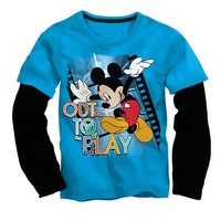 "Disney Boys Blue/Black Mickey Mouse ""Out To Play"" Faux Layered Long Sleeve Graphic T Shirt - Toddler"
