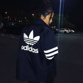 Adidas Women Fashion Zip Cardigan Jacket Coat