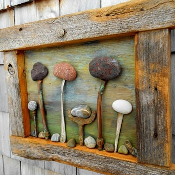 Rock Garden art Assemblage, reclaimed Barnwood frame with Beach Rocks, Found Object Salvage Art
