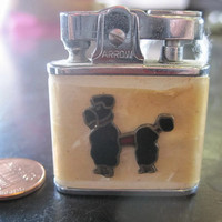 Ladies White Enameled Lighter with Black Poodle Design Mid-Century by Arrow