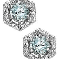 14k White Gold Earrings, Aquamarine (1 ct. t.w.) and Diamond (1/10 ct. t.w.) Hexagon Earrings - Earrings - Jewelry & Watches - Macy's
