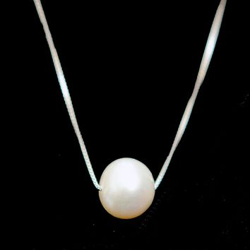 Sterling Silver Cultured Pearl Solitaire Necklace