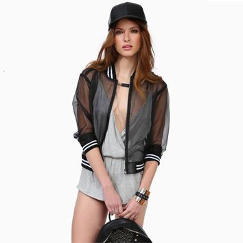 Women tulle jacket transparent tulle organza zipper closure sexy slim jackets with rib collar & cuff black SC2049