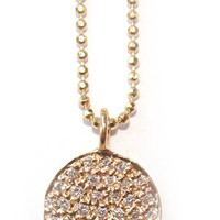 Jewelry by Atlantis - Large Pave Diamond Disc on 14k Gold Beaded Chain
