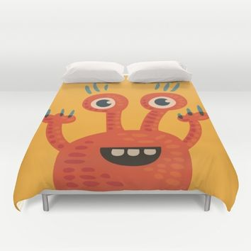 Funny Orange Happy Creature Duvet Cover by Boriana Giormova