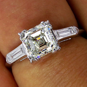 Reserved...GIA  VVS1..Art Deco 1.20ct Antique Vintage Asscher, Square Emerald Cut Diamond Engagement PLATINUM Ring