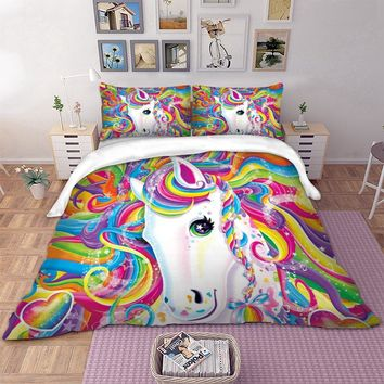 Wongs bedding colorful Unicorn cute Bedding Set 3D Digital Printing Duvet Cover single twin full queen king size bedlinen