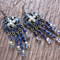 Midnight Gypsy - Crystal Chandelier Earrings Bohemian Jewelry