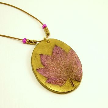 Autumn Leaf Pendant Necklace, Pink Brown Gold Pendant, Fun Jewelry, Art Jewelry, Affordable Handmade Polymer Clay Jewelry