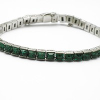 Art Deco STERLING Channel Set Emerald Glass Etched Line Bracelet