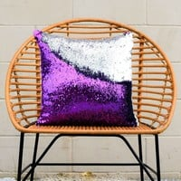 Amethyst Purple & Silver Mermaid Pillow