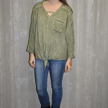 Crying Out Olive Tie Top