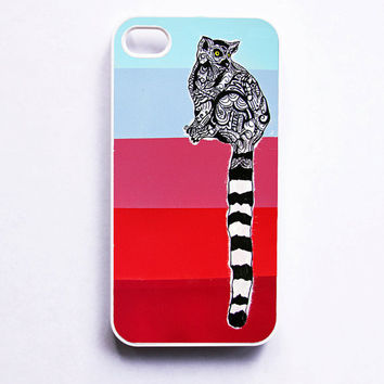 iPhone 4 Case  Lemur Zentangle Art by MayhemHere on Etsy