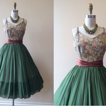1950s Dress - Vintage 50s Dress - Olive Silk Chiffon Tapestry Wedding Party Prom Dress XS S - Woodland Nymph