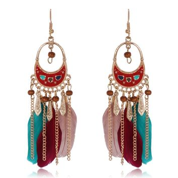 Ethnic Feather Chain And Bead Showy Drop Earrings