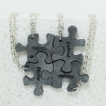 Puzzle Pieces Leather Personalized Necklaces  Set of 4