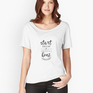 'Start each day with a grateful heart' Women's Premium T-Shirt by vanessavolk