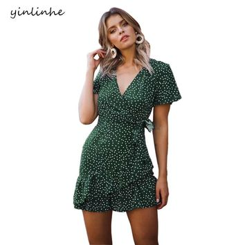 yinlinhe Green Polka Dot Dress Women Short Sleeve V neck Sexy Summer Dress Peas Vintage Elegant Bowknot Ruffles Vestidos     318