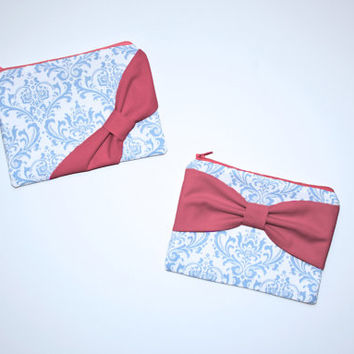 Cosmetic Case / Zipper Pouch - French Blue Damask with Hot Pink Bow - Choice of Bow Style