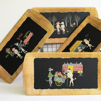 4 Vintage Trays - French Poodles in Paris - 1950 - Eugene Lenoir