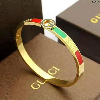 GUCCI new street fashion classic red and green striped women's wild bracelet Gold