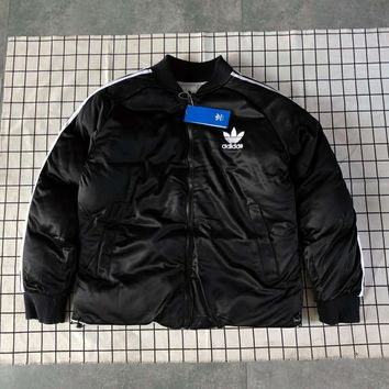 ADIDAS Clover autumn and winter models for men and women couples can wear warm cotton clothes on both sides black