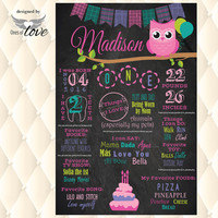 Owl Birthday Chalkboard  | Owl Party | Chalk board | first birthday | Girl Party | Print or Download | Photo Prop | pink teal poster board