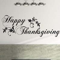 Happy Thanksgiving Wall Decal Decoration - Impress your guests at the Thanksgiving dinner LARGE 46 x 17 inches
