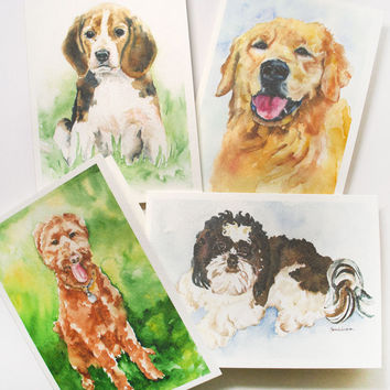 Dogs Watercolor Greeting Card Set