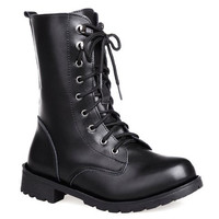 Black Flat Heel Lace Up Combat Boots