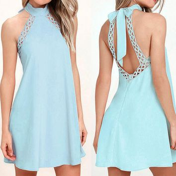 2017 Summer Beach Chiffon Dress Robe Halter Backless Hollow Out Bow Crochet Lace Dress Casual Mini Short Skater Dress Vestidos