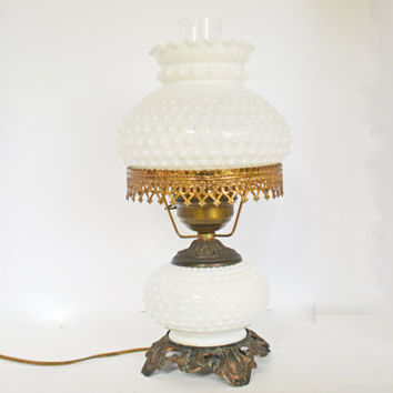 Vintage Milk Glass Table Lamp, Hobnail White Milk Glass Hurricane Lamp, Brass Milk Glass Light,