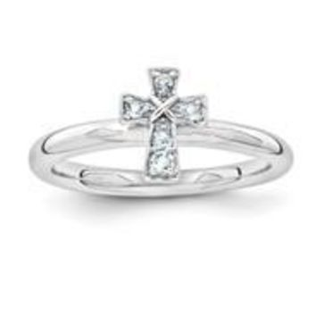 Sterling Silver Rhodium Aquamarine Cross Ring