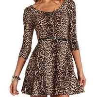 BELTED LEOPARD SKATER DRESS