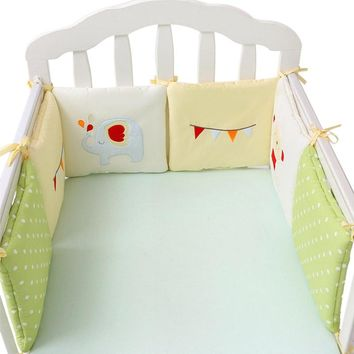6/12pcs Baby Bed Bumper Cotton Fox Elephant Bedding Set for Newborn Baby Crib Bumper Cot Bumper Protector Back Cushion Baby