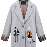 Gray Cartoon Embroidered Single-breasted Woolen Coat
