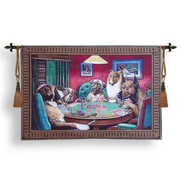 Dogs Playing Poker A Bold Bluff Tapestry 52W