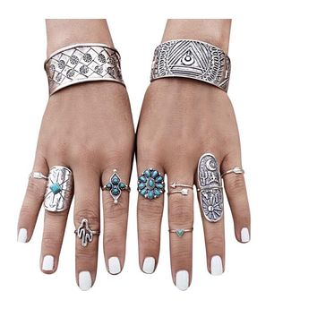 Women's 9Pcs Gypsy Punk Jewelry Set