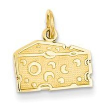 Swiss Cheese Charm in 14k Gold