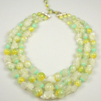 Vintage Three Strand Lucite Plastic Necklace Yellow Green Clear White Hong Kong